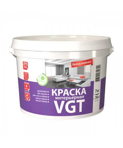 Краска интерьерная ВД-АК-2180 д/внут. работ белоснежная 7 кг VGT