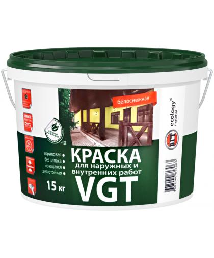 Краска фасадная ВД-АК-1180 д/нар.и внутр. работ белоснежная 15кг VGT