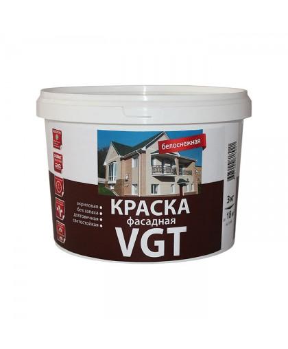 Краска фасадная ВД-АК-1180 белоснежная 3 кг VGT